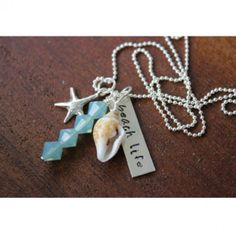 Beach Life Handstamped Sterling Silver Necklace