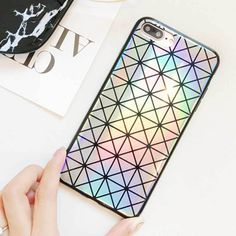 Kerzzil Laser Colorful Triangle Square Phone Case For 6 Fashion Abstract Geometric Back Cover For iPhone 7 Capa Iphone 6, Triangle Square, Plus 8, Cover, Phone Cases, Make It Yourself, Abstract, Colorful, How To Make