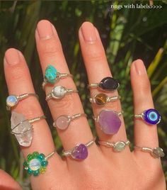 Wire Jewelry Rings, Handmade Wire Jewelry, Funky Jewelry, Hippie Jewelry, Cute Jewelry, Crystal Jewelry, Jewelry Accessories, Hippie Rings, Crystal Ring