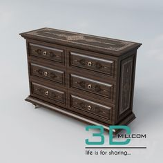 nice 61. Sideboard & Chest of drawer 3D model Download here: http://3dmili.com/furniture/sideboard-chest-of-drawer/61-sideboard-chest-drawer-3d-model.html