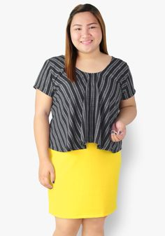 Having an impromptu meeting? Grab this stripe layered dress to look instantly smart and ready! Woven and cotton fabric. It's both classy and fun outfit! Yellow Black, Black Stripes, Designer Party Dresses, Casual Dresses, Cotton Fabric, Cool Outfits, That Look, Tunic Tops, Classy