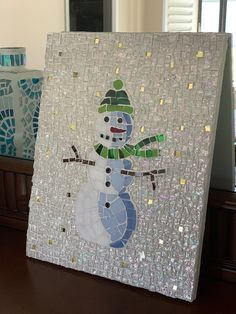 beautiful snowman stained glass mosaic for Christmas, ready to ship - Cool Glass Art Designs Stained Glass Designs, Mosaic Crafts, Mosaic Projects, Stained Glass Projects, Mosaic Designs, Mosaic Patterns, Stained Glass Art, Mosaic Ideas, Art Projects
