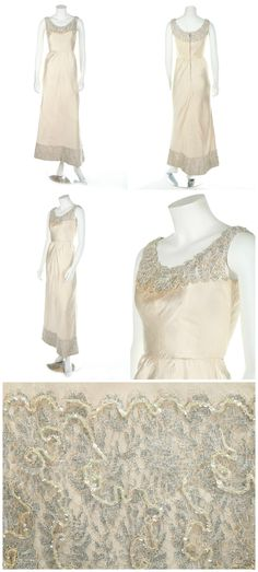 """A Jacques Heim couture ivory slubbed silk bridal/debutante gown, early 1960s. """"Jeunes Filles Paris"""" label, the hem and neckline edged with silver lace and iridescent sequins. Kerry Taylor Auctions."""