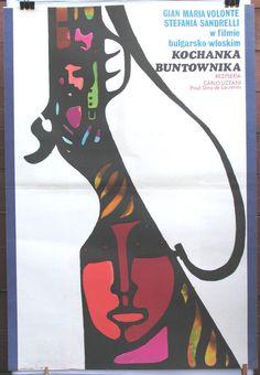 "Poster vintage. Italy - Bulgaria (1968) film ""The Bandit"". Polish poster by Maciej Hibner (1971). Retro movie poster"