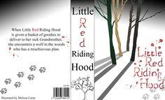 Front cover, spine and back cover for a modern/adult Little Red riding Hood. AS practice piece coursework