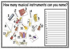 Worksheet/ Quiz on musical instruments