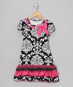 Black & Pink Damask Dress - Girls