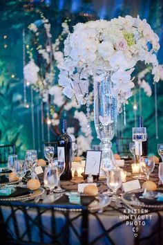 Tall centerpiece of white orchids, Seattle Aquarium wedding, black and white wedding, Flora Nova Design/Seattle (Bronte loves orchids) Wedding Goals, Wedding Themes, Wedding Venues, Wedding Planning, Wedding Ideas, Event Venues, Mod Wedding, Wedding Table, Wedding Black
