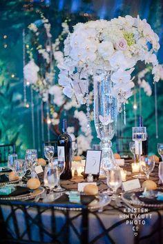 Tall centerpiece of white orchids, Seattle Aquarium wedding, black and white wedding, Flora Nova Design/Seattle