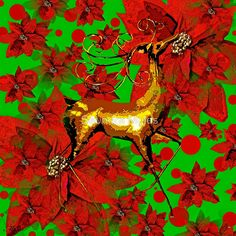 Reindeer and Poinsettia
