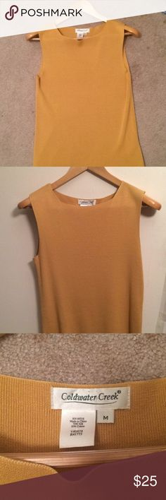 👛 Sleeveless Silk Coldwater Creek Top Mustard Yellow  Sleeveless Top Tank or Layering Top 70% Silk 30% Cotton US size M Dry Clean Only Excellent Condition 👠 Coldwater Creek Tops