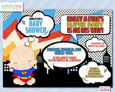 Super Hero Baby Shower Invitations 468 Baby Boy By LullabyLoo, $18.00