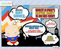 Comic Superhero Baby Shower Invitation 1500 via Etsy one