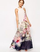 2015 summer style floral print maxi dresses women beach club casual loose chiffon sleeveless o-neck evening long dress plus size(China (Mainland))