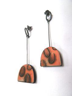 Orange drop earrings by Kelly Munro 2014