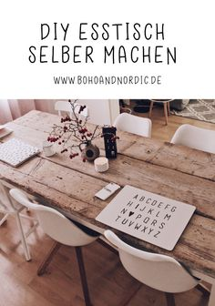 DIY Esstisch selber bauen – Tisch aus alten Baudielen Build your own wooden dining table. Make DIY dining table from old building boards yourself. Build DIY furniture yourself. Upcycled Home Decor, Diy Home Decor, Room Decor, Cute Dorm Rooms, Cool Rooms, Diy Esstisch, Diy Casa, Farmhouse Side Table, Wooden Dining Tables