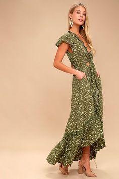 Olive Green and White Polka Dot Dress