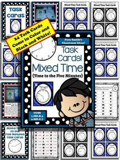 Mixed Time To the Five Minutes Task Cards and Recording Sheet For 1.MD.B.3 Including Answer Key #TPT $Paid