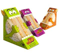 Brazilian design agency, Quadrante Design, has  created a collection of sandwich packaging where the entire box is designed to be a cartoon character! The sandwich company is called SM Kids and each box is designed to look like a different monster character. #kid #packaging