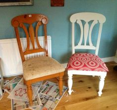 Chicken poop chairs ... Cost £1 for six at auction cleaned, fixed re worked ❤️