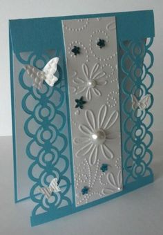Teal border by - Cards and Paper Crafts at Splitcoaststampers - like the idea of using a border punch that's still attached to the main card Butterfly Cards, Flower Cards, Cute Cards, Diy Cards, Embossed Cards, Card Tags, Card Kit, Creative Cards, Greeting Cards Handmade