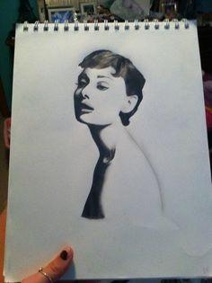 Audri Rousseau sketch of an Audrey Hepburn photo.