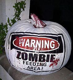 No-Carve Pumpkin - Just use paint and Mod Podge! Halloween Door, Halloween Jack, Creepy Halloween, Pumpkin Art, Pumpkin Carvings, Pumpkin Painting, Pumpkin Ideas, Zombie Pumpkins, Halloween Pumpkins