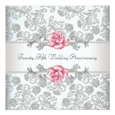 Pink rose damask silver 25th wedding anniversary custom invite zazzle