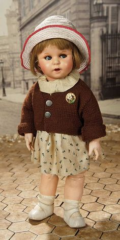 """Fascination"" - Sunday, January 8, 2017: 352 French Paper Mache Toddler, 247, with Flirty Eyes and Original Costume by SFBJ"