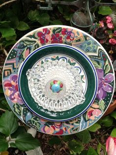 Beautiful flower plate in greens, purples, pinks and blues.  SOLD at Galveston Island Market MiMi's Plate Flowers