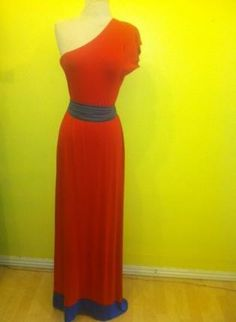 $61 RED ROMAN COLOR BLOCK BLUE TRIM ONE SHOULDER MAXI JERSEY DRE,  Dress, red long length jersey maxi roman, Chic
