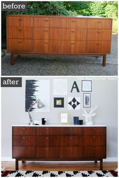 Before & After: Mid Century Modern Credenza with a Glossy White Top - Easy Diy Furniture Mid Century Modern Dresser, Mid Century Credenza, Mid Century Modern Furniture, Refurbished Furniture, Furniture Makeover, Painted Furniture, Furniture Projects, Diy Furniture, Furniture Design