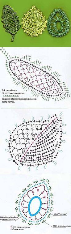 Схемы вязания интересных листьев | Искусница