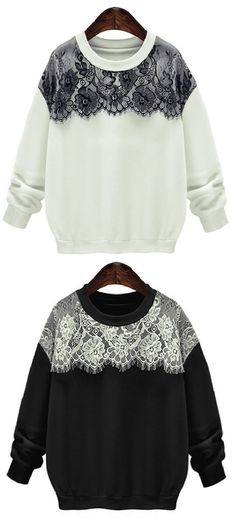 Get this chic look with 7 Days+$24.99 Now! You gonna need this chic lace splicing round neck sweatshirt for matching of your wardrobe. Collect this basic top Now!