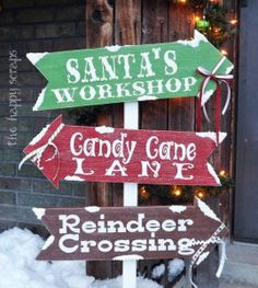 Winter Directional Sign: Santa's Workshop, Candy Cane Lane & Reindeer Crossing
