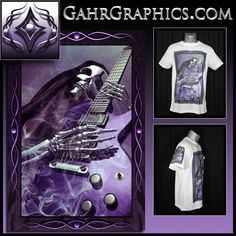 T-shirt design created by Gahr Graphics featuring the Grim Reaper playing guitar.  This design is printed on Vapor Apparel using dye sublimation.