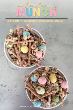 With only 5 ingredients and less than 5 minutes you can whip up this Easter Snack Mix, aka Bunny Munch!! It's a super easy treat for both kids and adults!
