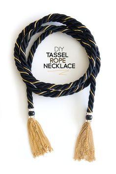 diy, rope necklace, tassel, rachel zoe, inspired, black and gold