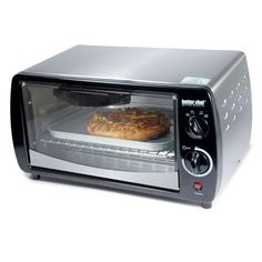 This Better Chef toaster oven features high-efficiency quartz heating elements and bakes, broils, toasts and roasts. This white toaster oven includes a bake pan, wire rack, and tray handle. 300-watts