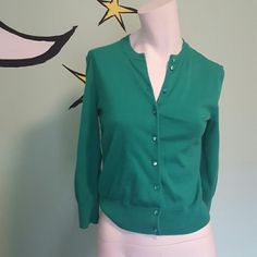 J. Crew button up sweater Very pretty green, super nice new buttons. Perfect for spring J. Crew Jackets & Coats