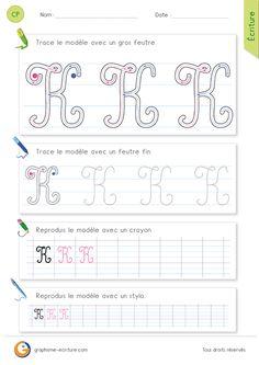Feuille d ecriture pour Apprendre à écrire la lettre K MAJUSCULE en cursive à imprimer. Exercice CP CE1.