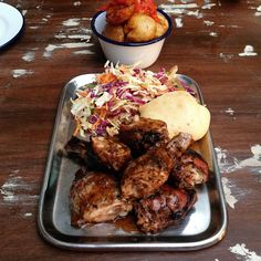 Jerk Chicken, Colesaw, Bread Roll with Fried Potatoes @ Junkanoo, Crown St, Surry Hills. Surry Hills, Jerk Chicken, Fried Potatoes, Sydney, Rolls, Crown, Bread, Food, French Fries Crisps