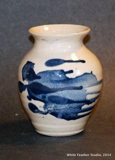 Blue splash vase, Sally Jenks White Feathers, Sally, Stoneware, Vase, Ceramics, Studio, Home Decor, Ceramica, Pottery