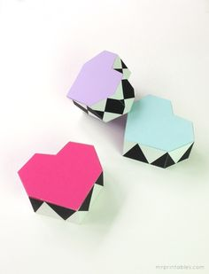 Geometric Heart printable favor boxes
