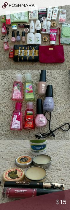 Beauty Box Will divide. All new never opened unless stated other wise 4 bath & body works hand sanitizer 3 nail polish the tan was used once others Cetaphil 2 Burt's Bee's Products used once or twice Lash Paint(black & gold) used once, (I'm not a mascara wearer but has to try it out!) Liquid Velvet lipstick 2 Dove deoterant Schwartzkopf Gloss shampoo & conditioner Schwartzkopf essence uptime shampoo & conditioner Pantene dream care shampoo & conditioner More info in comments bath & body…
