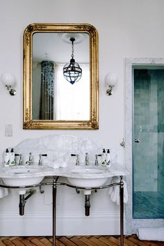 pulled from bungalowclassic.tumbler love the sinls and green tiled shower