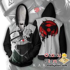 Naruto Kakashi Sharingan Zip Up Hoodie Jacket - Naruto 3D Zip Up Hoodies And Clothing  #animeart #stuff #comic #animeboy #animelover #merchandise #anime