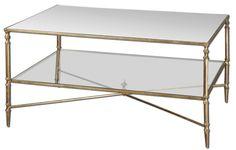 Gold glass modern coffee table. $520   #furniture #tables #cocktail tables #coffee tables #gold Modern #transitional