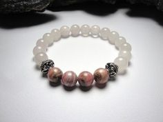 Rhodochrosite and Rose Quartz Stretch Bracelet with by LizDesign7, $21.00