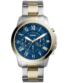 Fossil Men's Chronograph Grant Two-Tone Stainless Steel Bracelet Watch 44mm FS5273